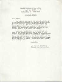 Charleston Branch of the NAACP, Regular Meeting Notice, November 17, 1988
