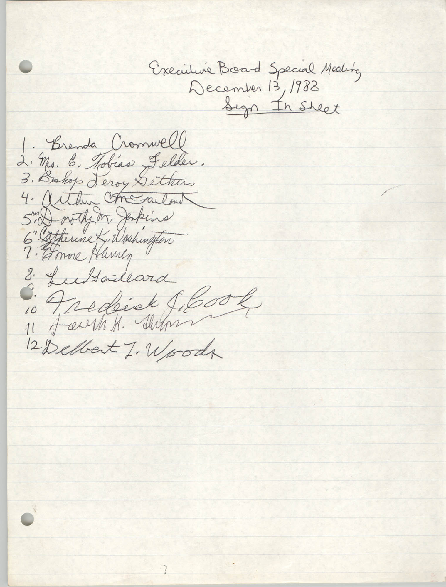 Sign-in Sheet, Charleston Branch of the NAACP, Executive Board Meeting, December 13, 1988