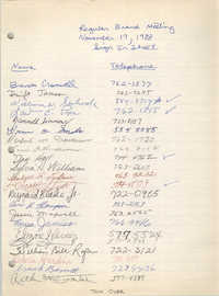 Sign-in Sheet, Charleston Branch of the NAACP, Regular Branch Meeting, November 17, 1988