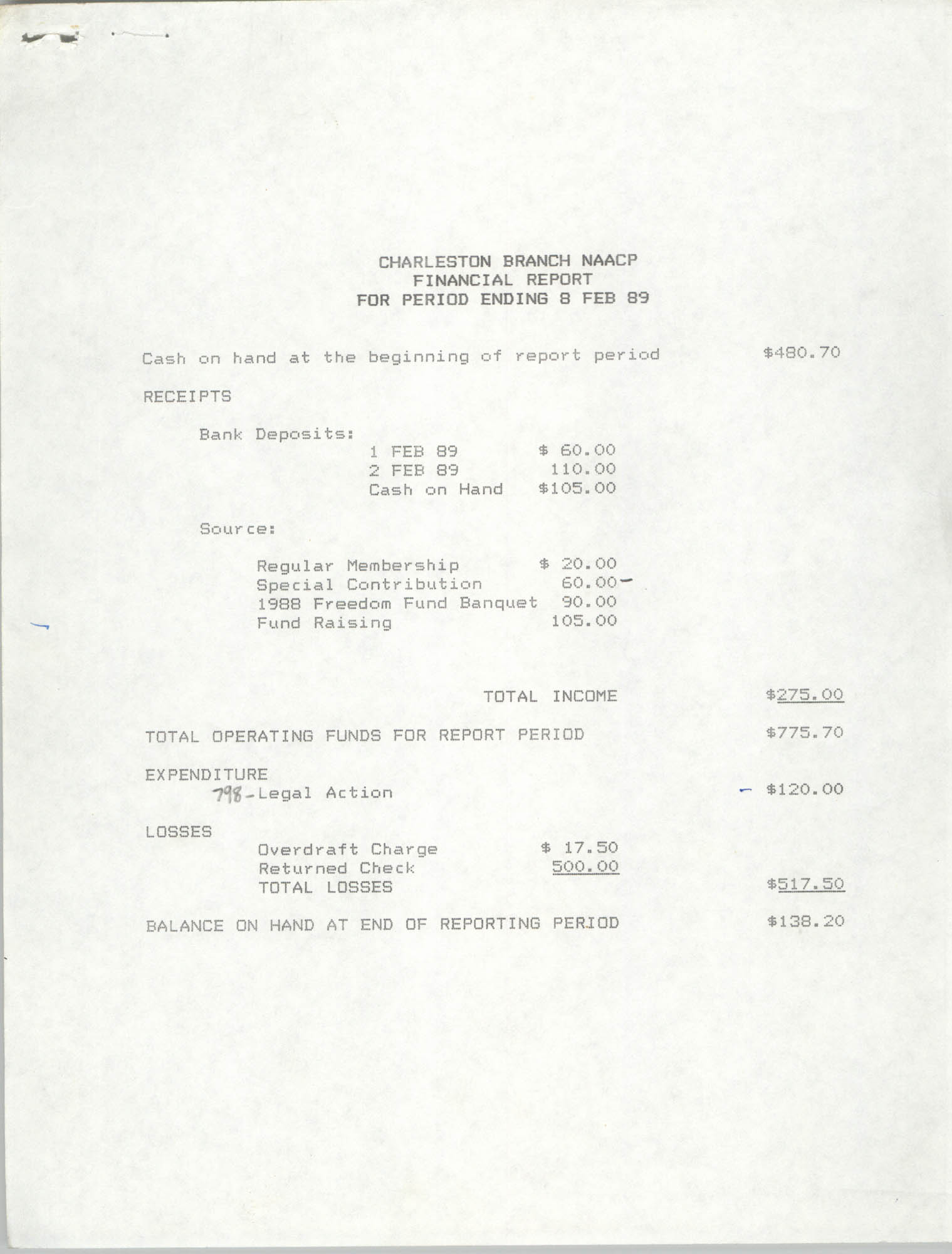 Charleston Branch of the NAACP Financial Report, February 8, 1989