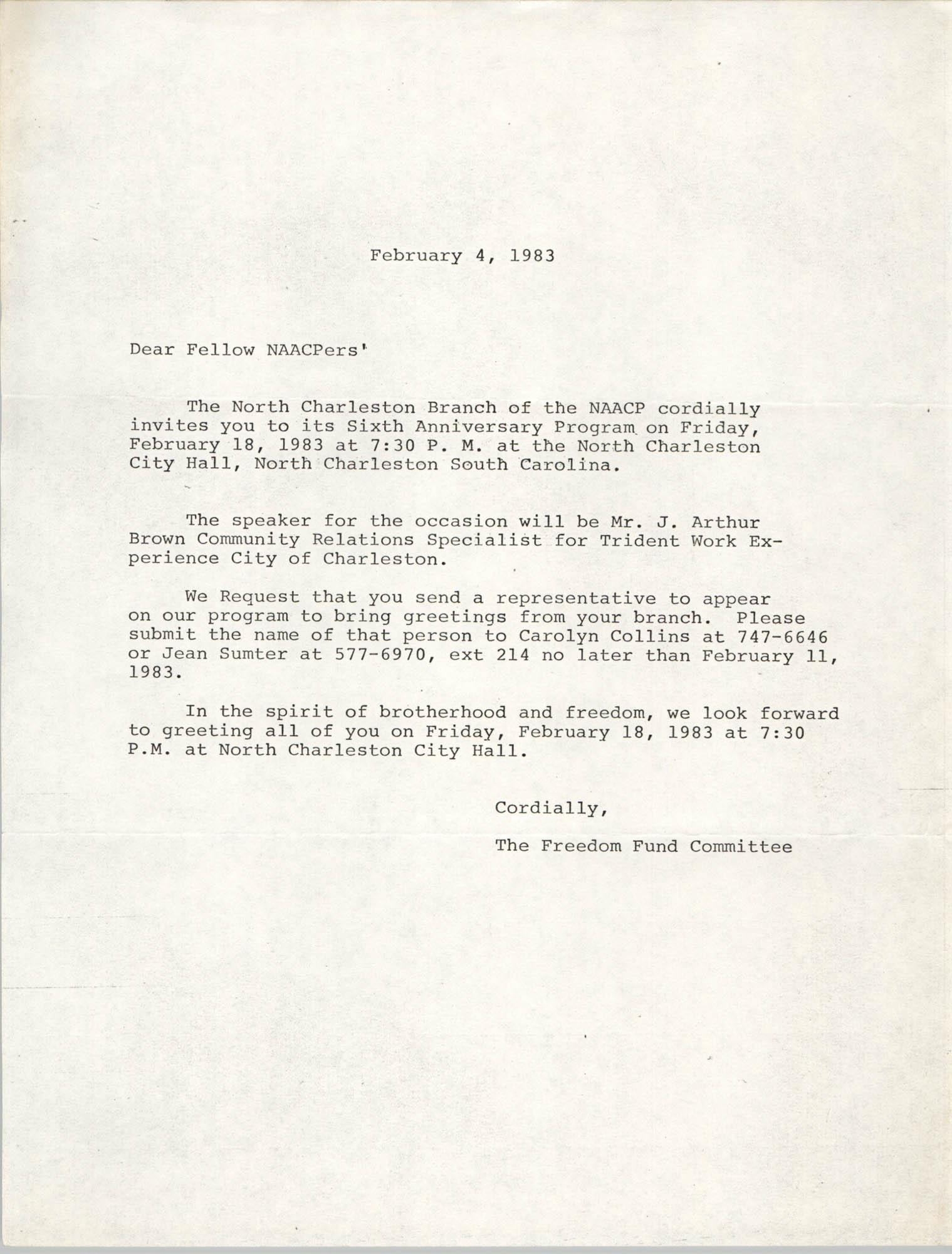 North Charleston Branch of the NAACP Memorandum, February 4, 1983