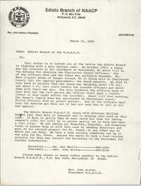 Edisto Branch of the NAACP Memorandum, March 31, 1983