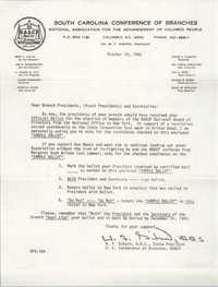 South Carolina Conference of Branches of the NAACP Memorandum, October 28, 1983