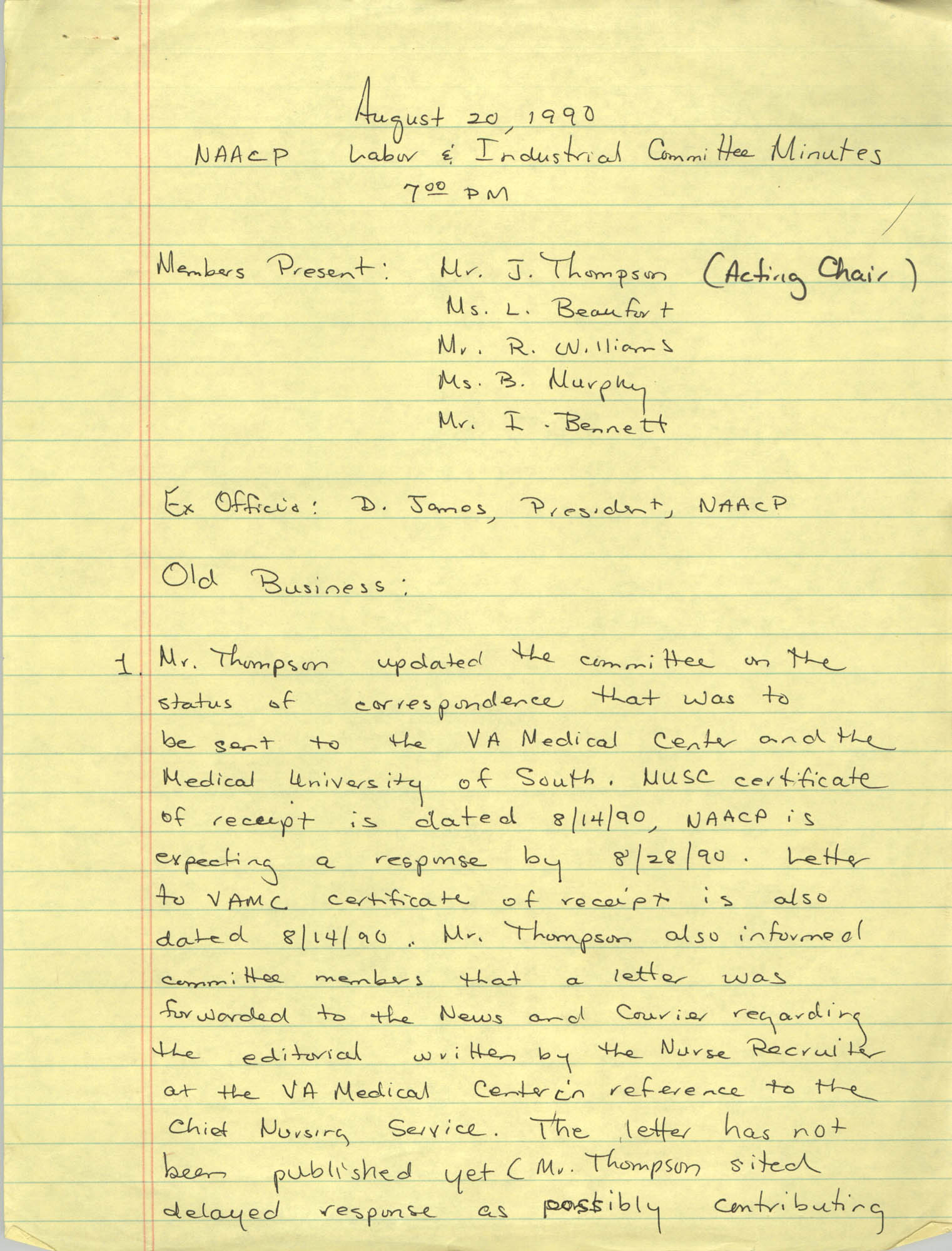 Charleston Branch of the NAACP Labor and Industry Committee Minutes, August 20, 1990