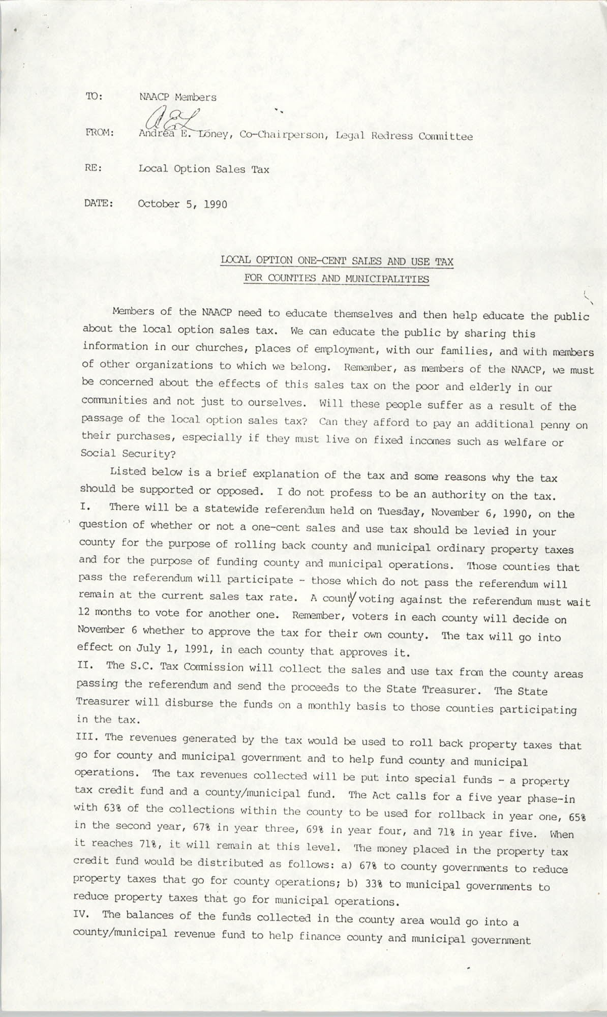NAACP Memorandum, October 5, 1990