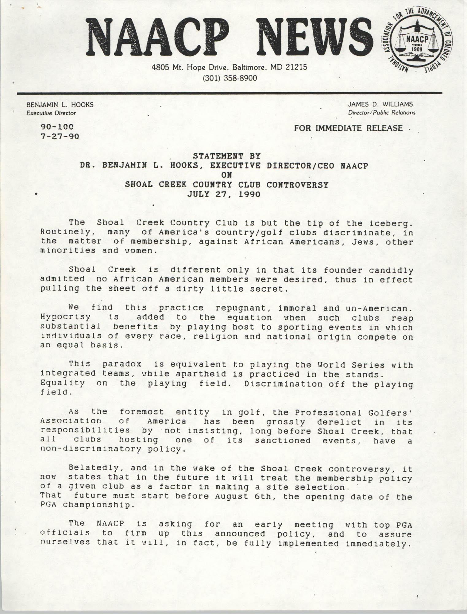 NAACP News Statement, July 27, 1990