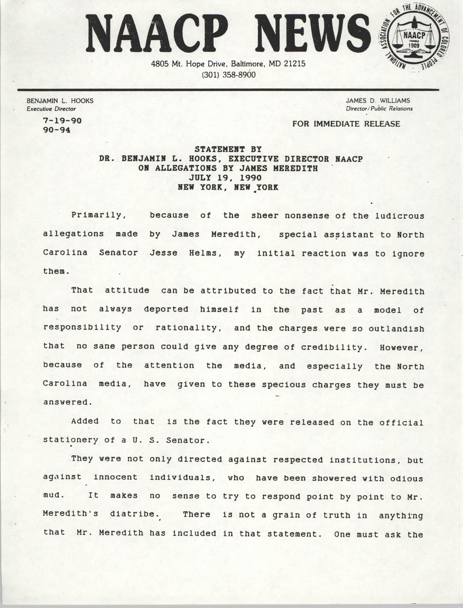 NAACP News Statement, July 19, 1990