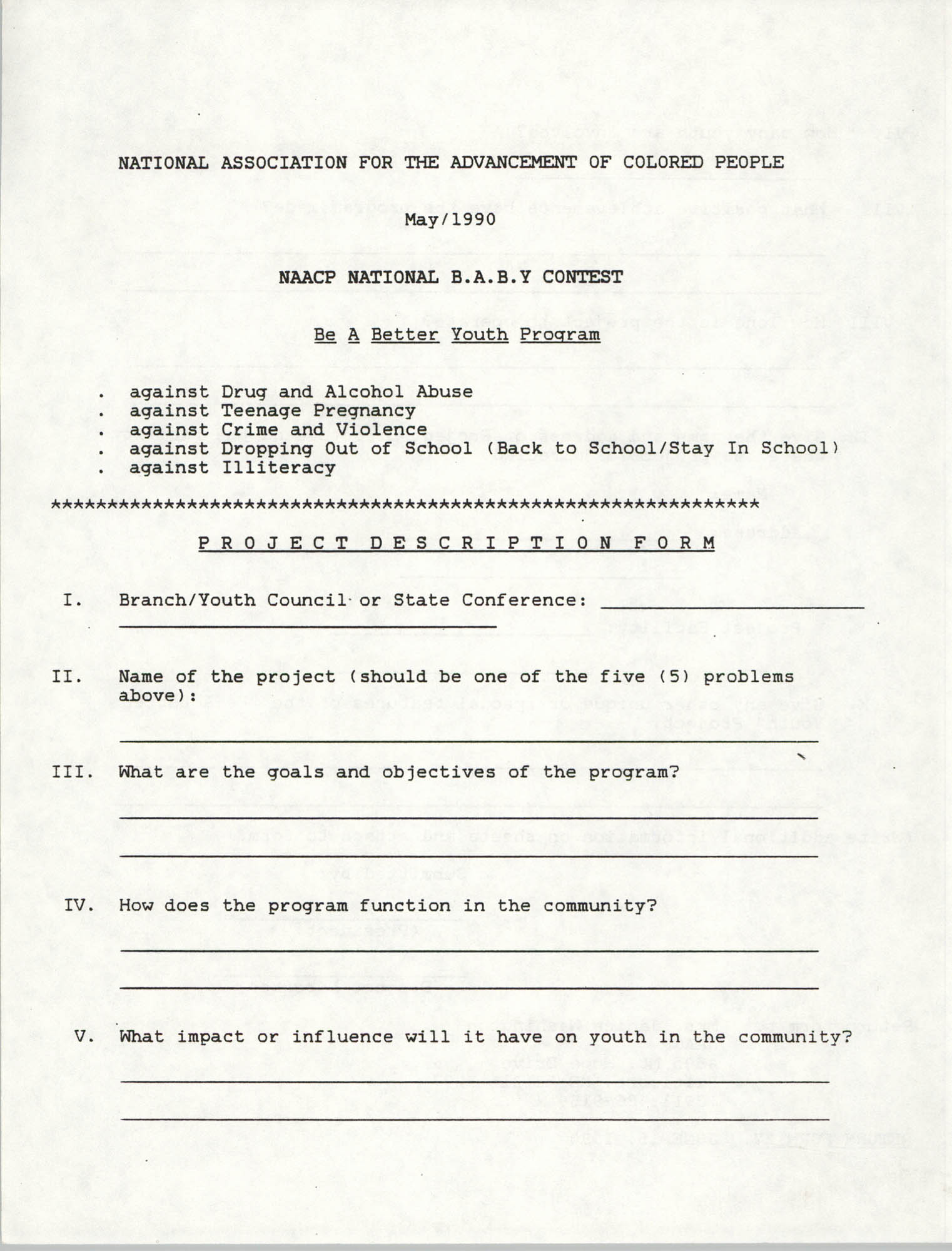 NAACP Nation B.A.B.Y. Contest Project Description Form