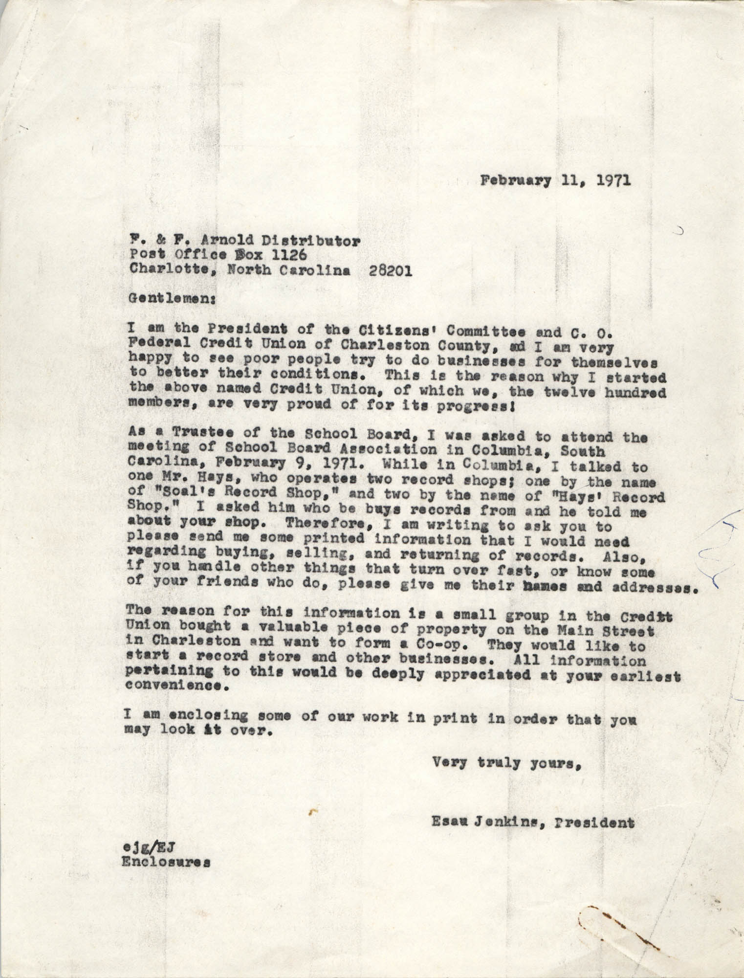 Letter from Esau Jenkins to F. and F. Arnold Distributor, February 11, 1971