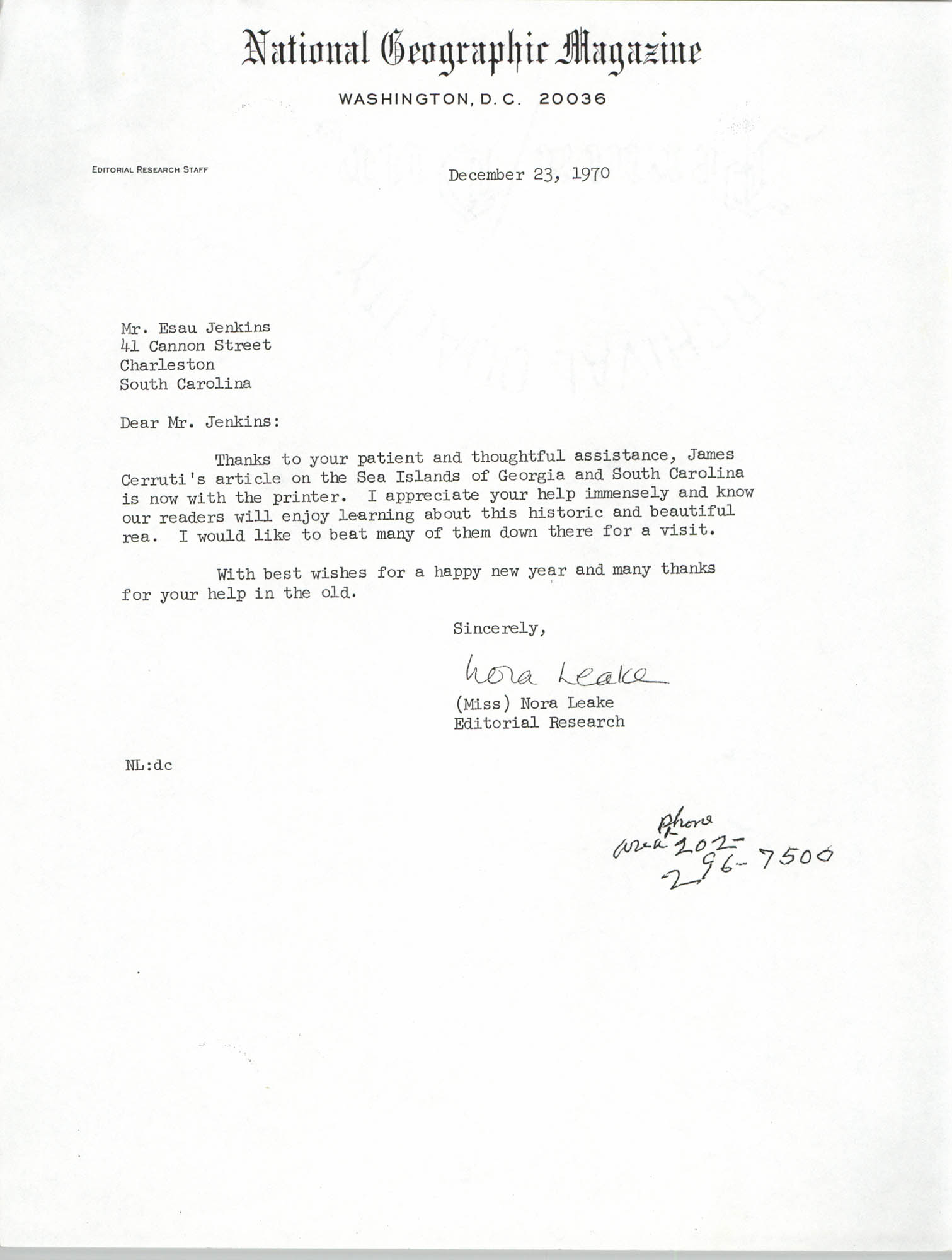 Letter from Nora Leake to Esau Jenkins, December 23, 1970