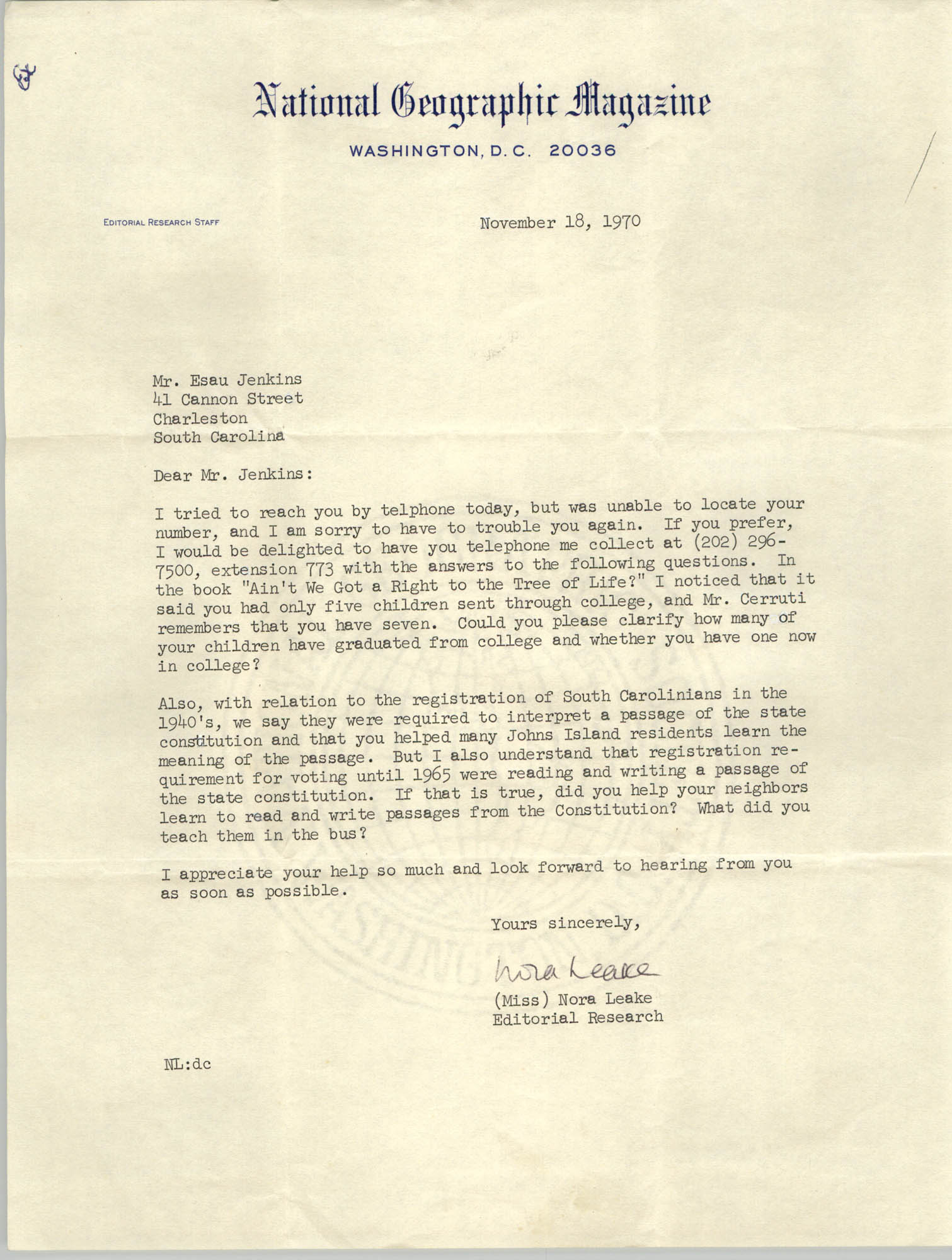 Letter from Nora Leake to Esau Jenkins, November 18, 1970
