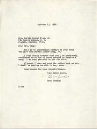 Letter from Esau Jenkins to Mrs. Martin Luther King, Jr., October 23, 1969