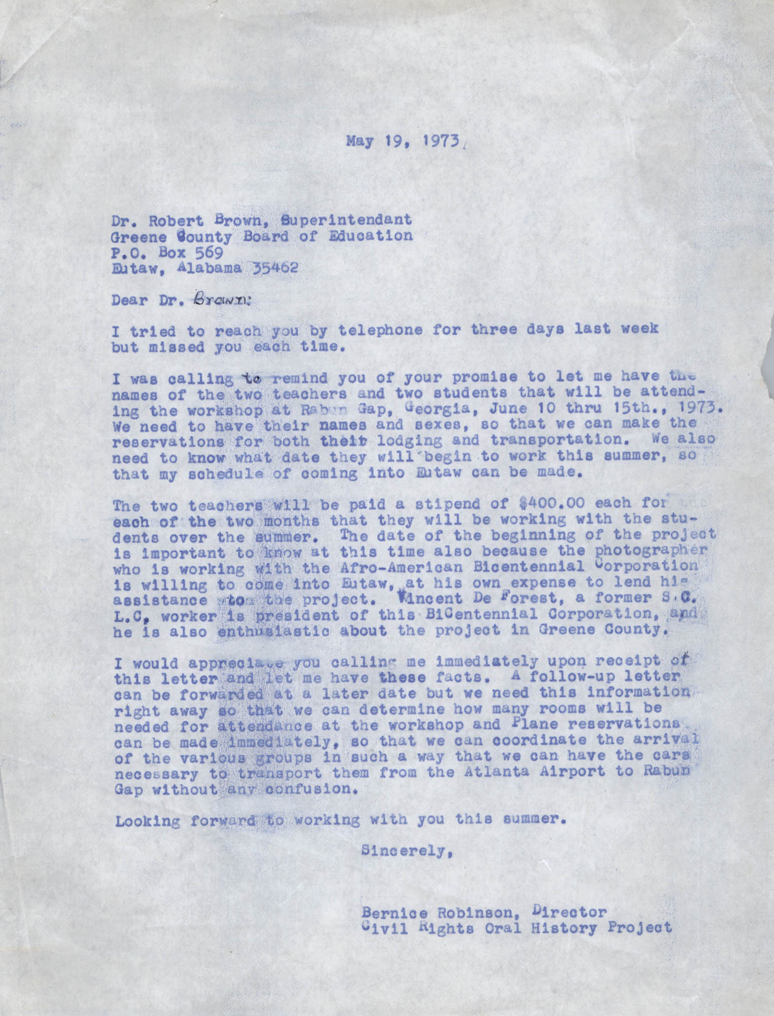 Letter from Bernice Robinson to Robert Brown, May 19, 1973