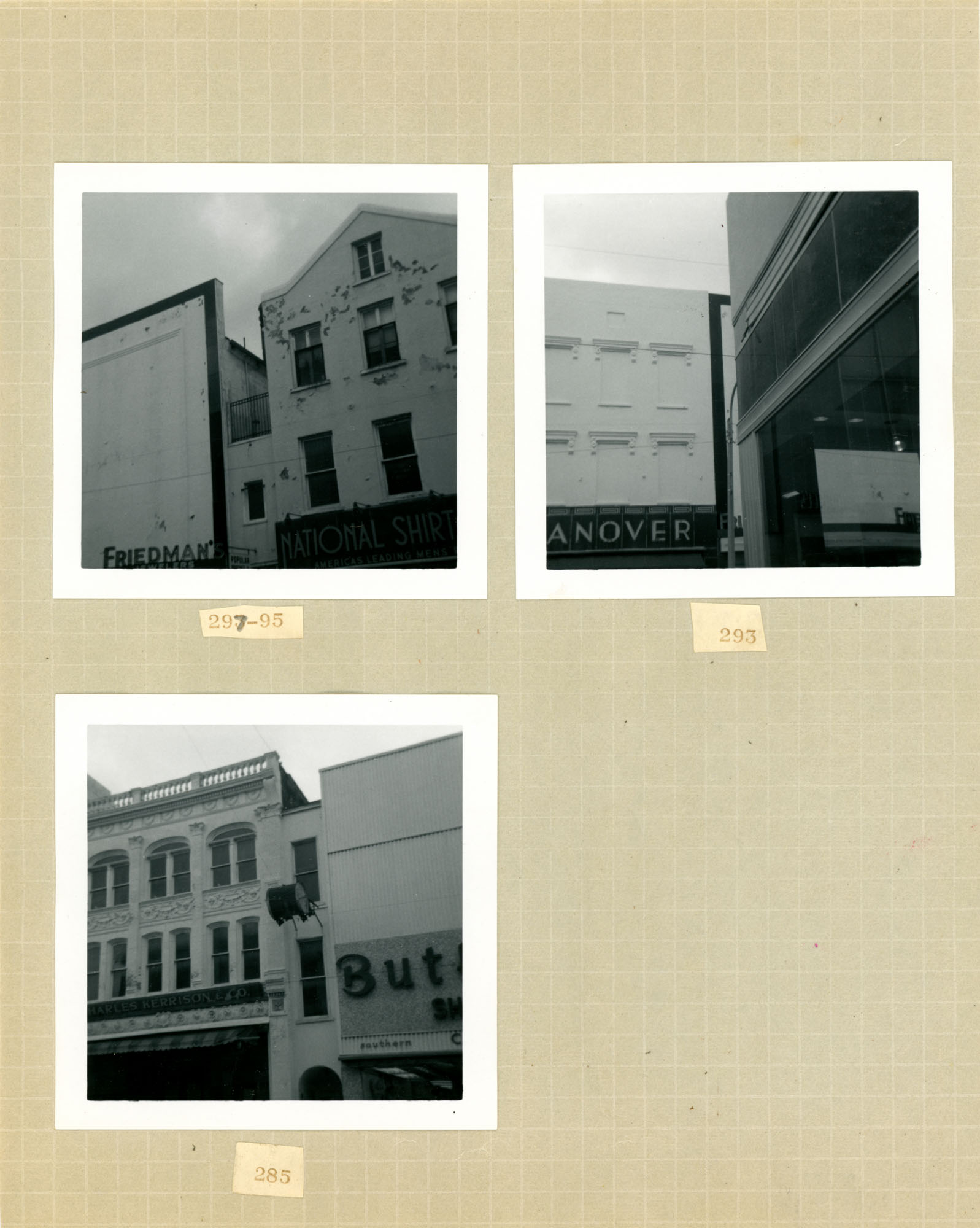 King Street Survey Photo Album, Page 8 (front): 285-325 King Street
