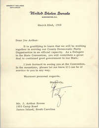 Letter from Ernest F. Hollings to J. Arthur Brown, March 22, 1968