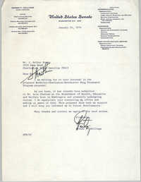 Letter from Ernest F. Hollings to J. Arthur Brown, January 24, 1974