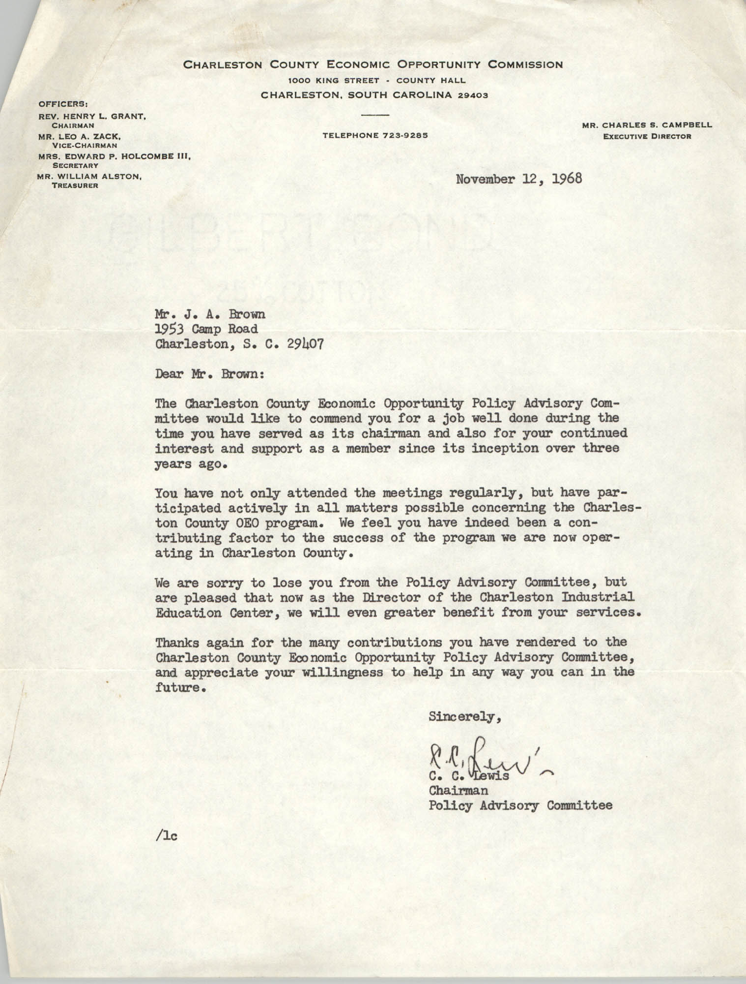 Letter from C. C. Lewis to J. Arthur Brown, November 12, 1968