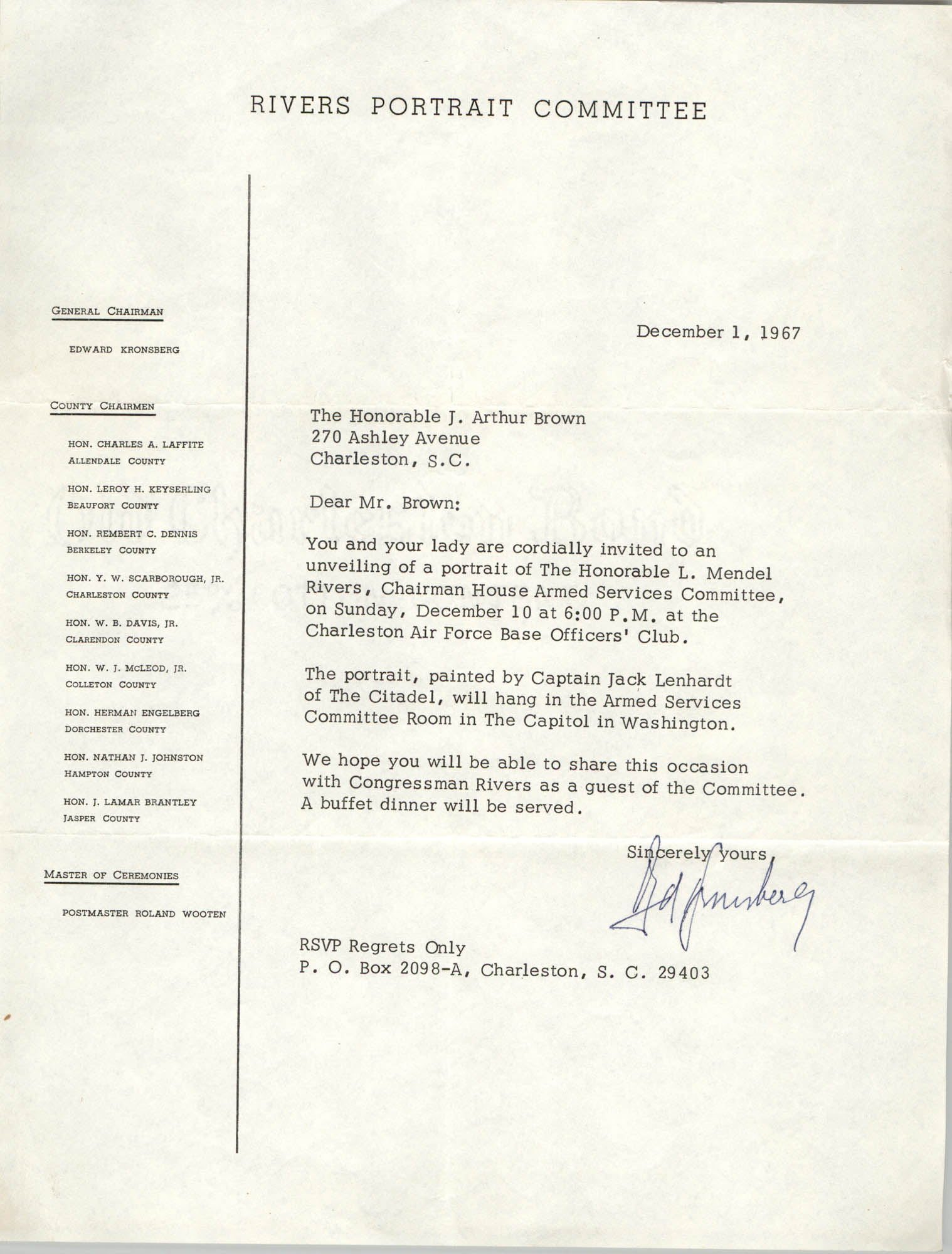 Letter from Edward Kronsberg to J. Arthur Brown, December 1, 1967