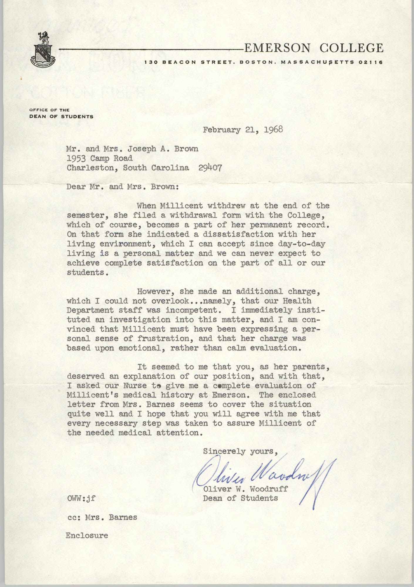 Letter from Oliver W. Woodruff to Mr. and Mrs. J. Arthur Brown, February 21, 1968