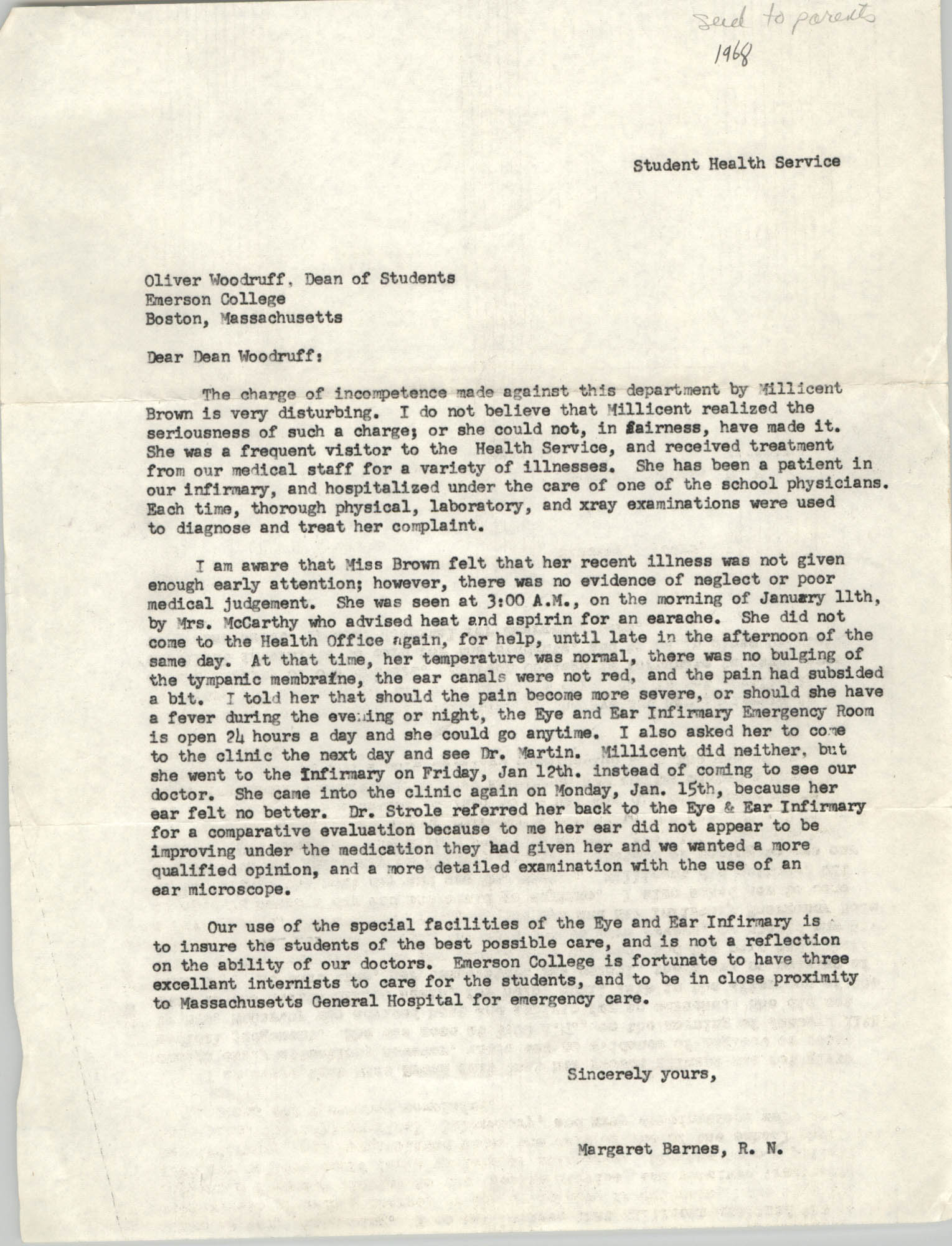 Letter from Margaret Barnes to Oliver Woodruff, 1968