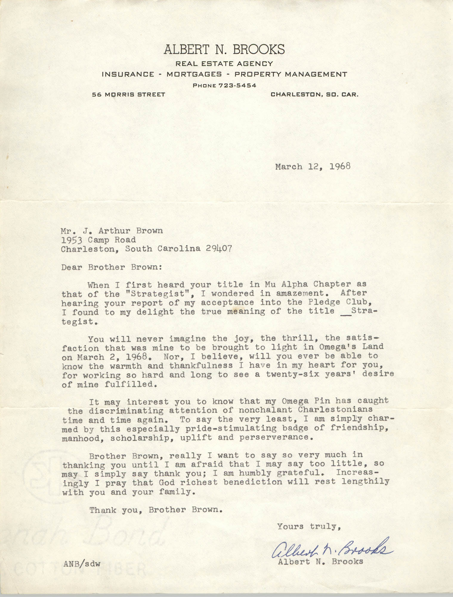 Letter from Albert N. Brooks to J. Arthur Brown, March 12, 1968