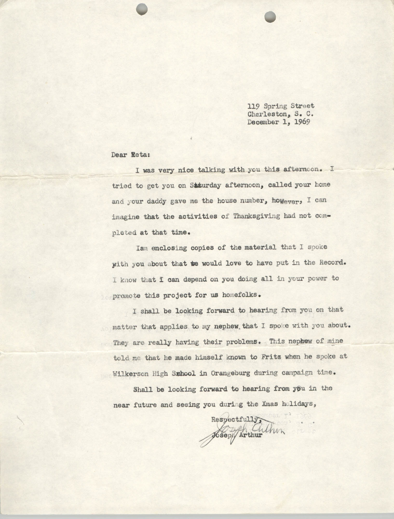 Letter from J. Arthur Brown to Reta, December 1, 1969