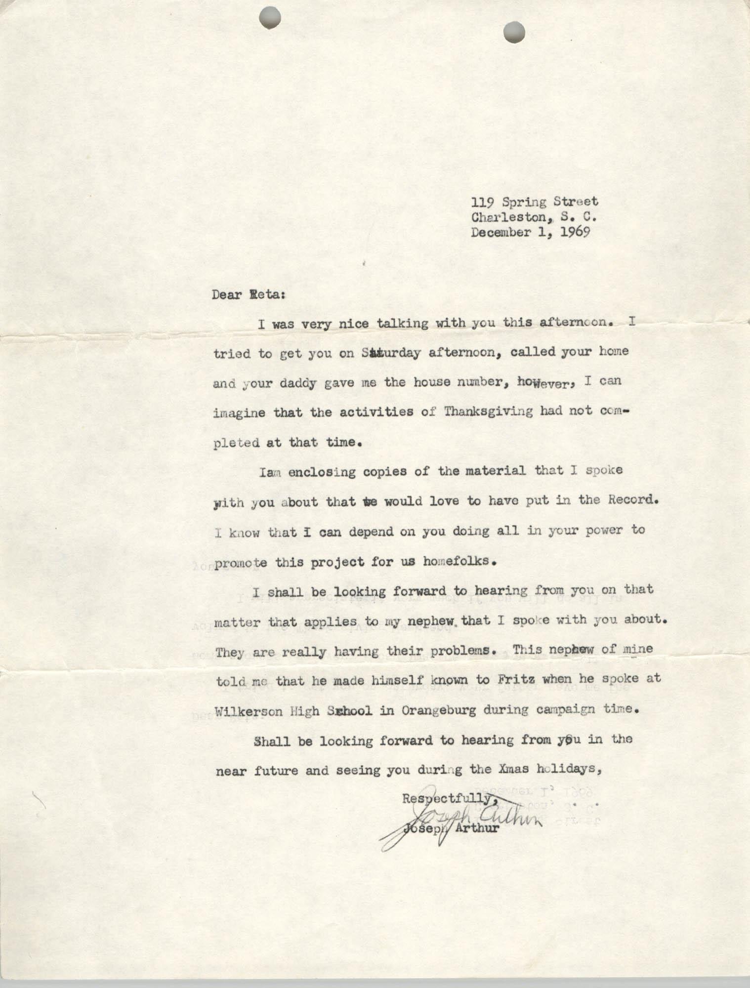 Letter from J. Arthur Brown to Reta, December 1, 1969