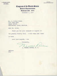 Letter from L. Mendel Rivers to J. Arthur Brown, November 8, 1967