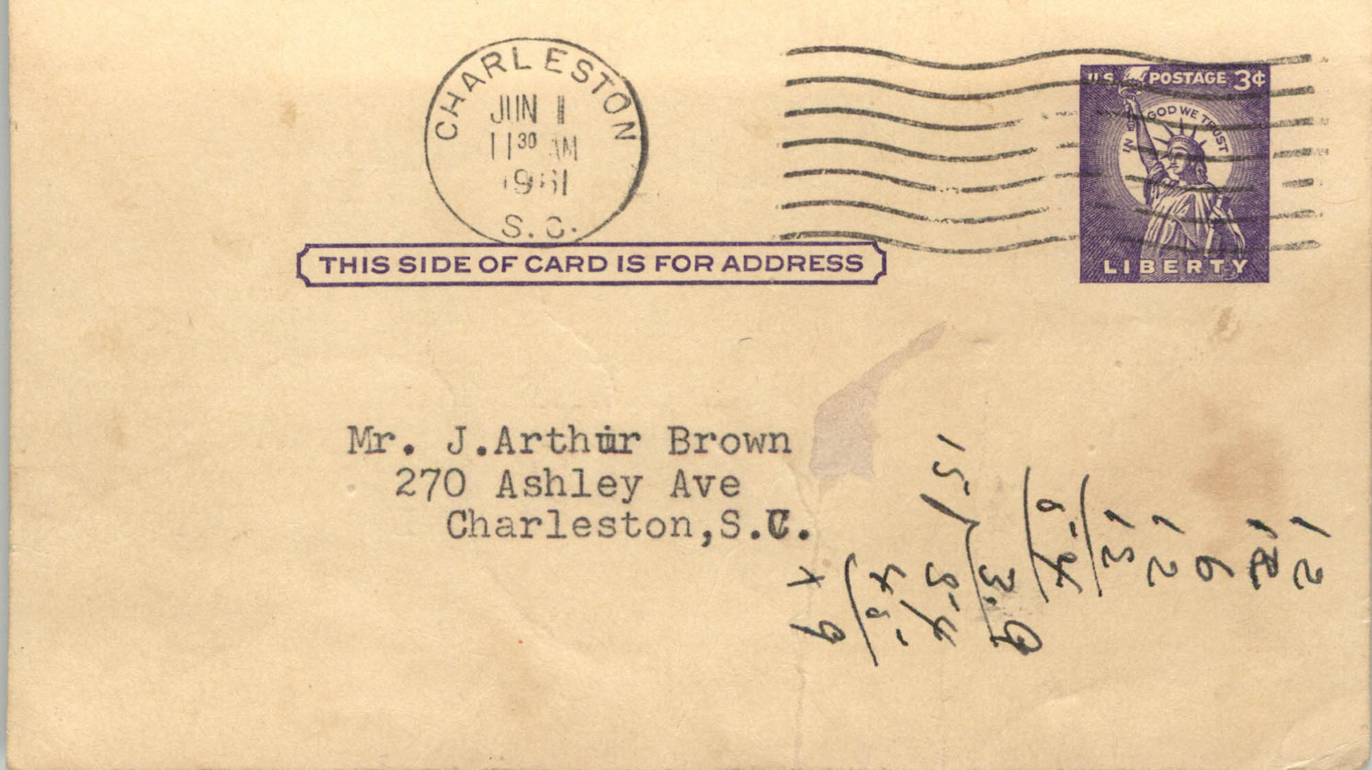 Postcard from NAAWP to J. Arthur Brown, June 11, 1961