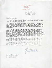 Letter from George McMillan to J. Arthur Brown