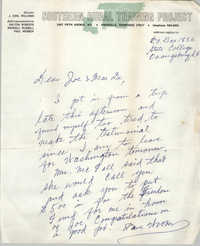 Letter from Paul Webber to J. Arthur Brown and MaeDe Brown