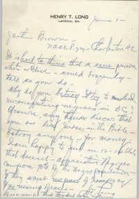 Letter from Henry T. Long to J. Arthur Brown