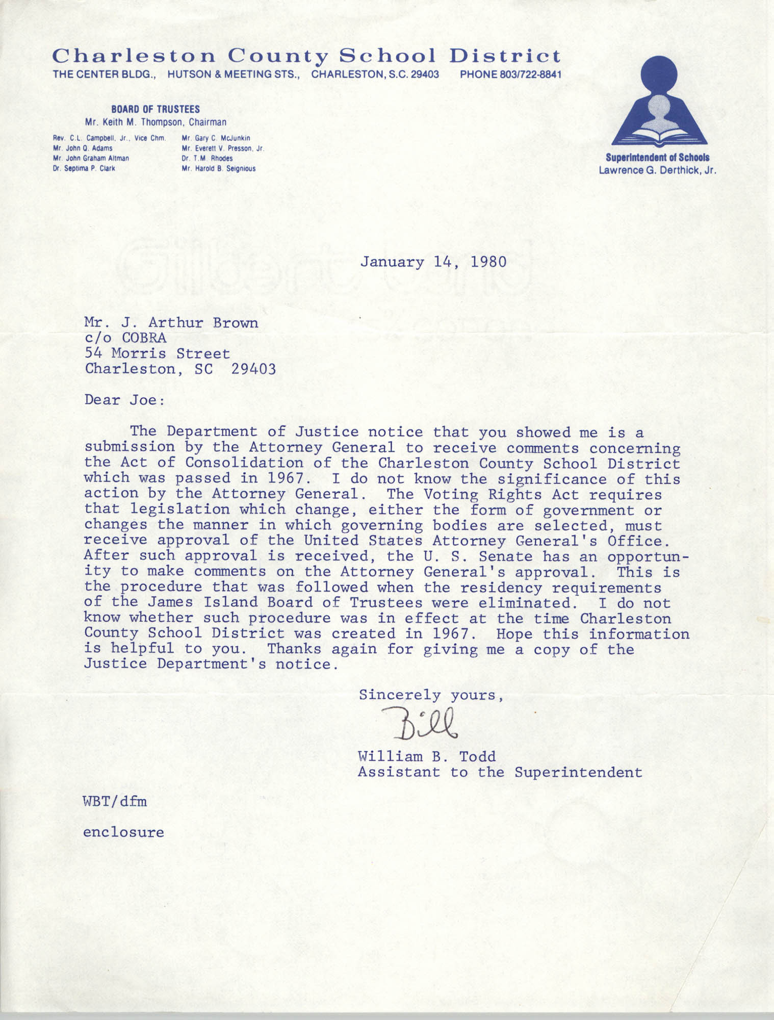 Letter from William B. Todd to J. Arthur Brown, January 14, 1980