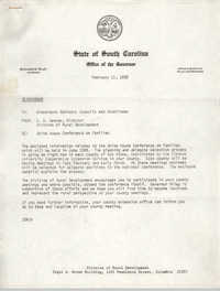 Office of the Governor of the State of South Carolina Memorandum, February 11, 1980