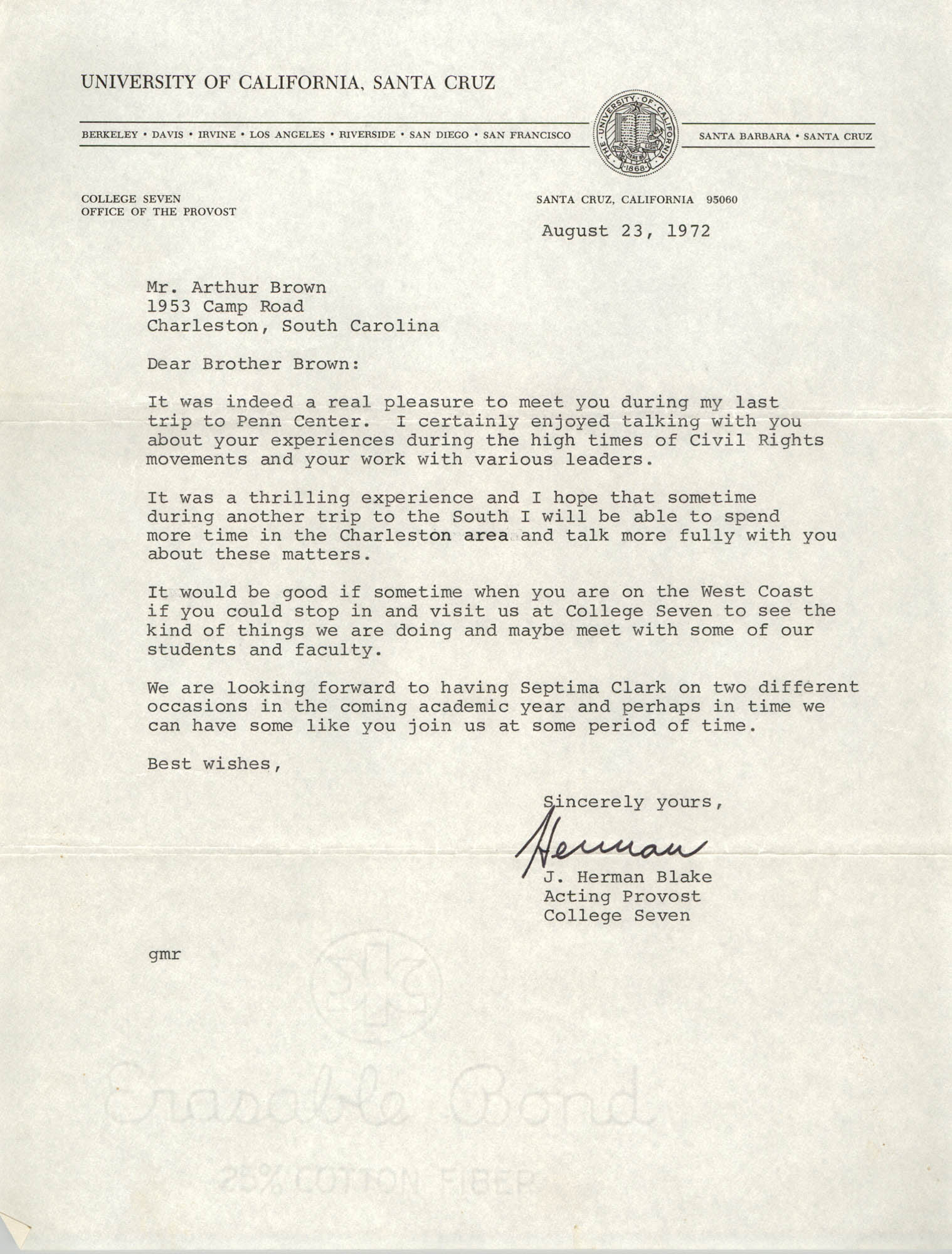 Letter from J. Herman Blake to J. Arthur Brown, August 23, 1972