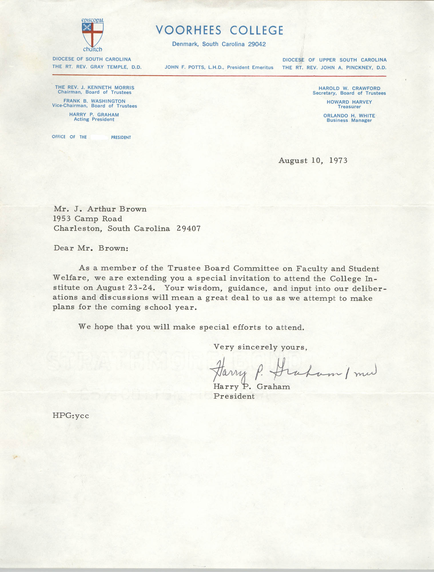 Letter from Harry P. Graham to J. Arthur Brown, August 10, 1973