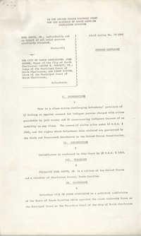 Civil Action No. 79-1042 Amended Complaint, Charleston Division, Earl Davis, Jr. vs. The City of North Charleston