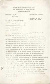 Civil Action No. 79-1042 Affidavit of John E. Bourne, Jr., Charleston Division, Earl Davis, Jr. vs. The City of North Charleston