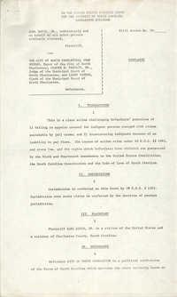 Civil Action No. 79-1042 Complaint, Charleston Division, Earl Davis, Jr. vs. The City of North Charleston