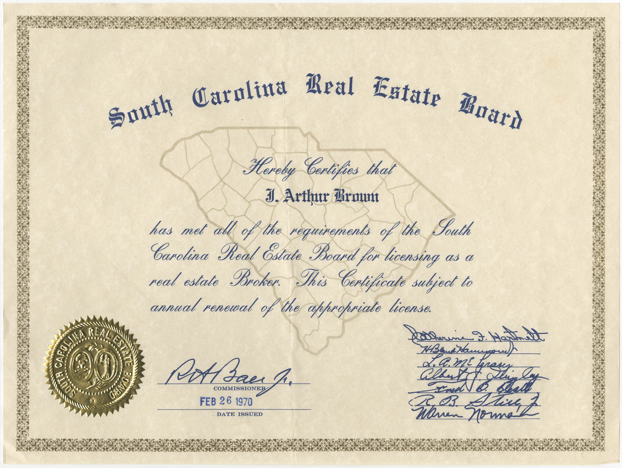 South Carolina Real Estate Board Certificate for J. Arthur Brown, February 26, 1970