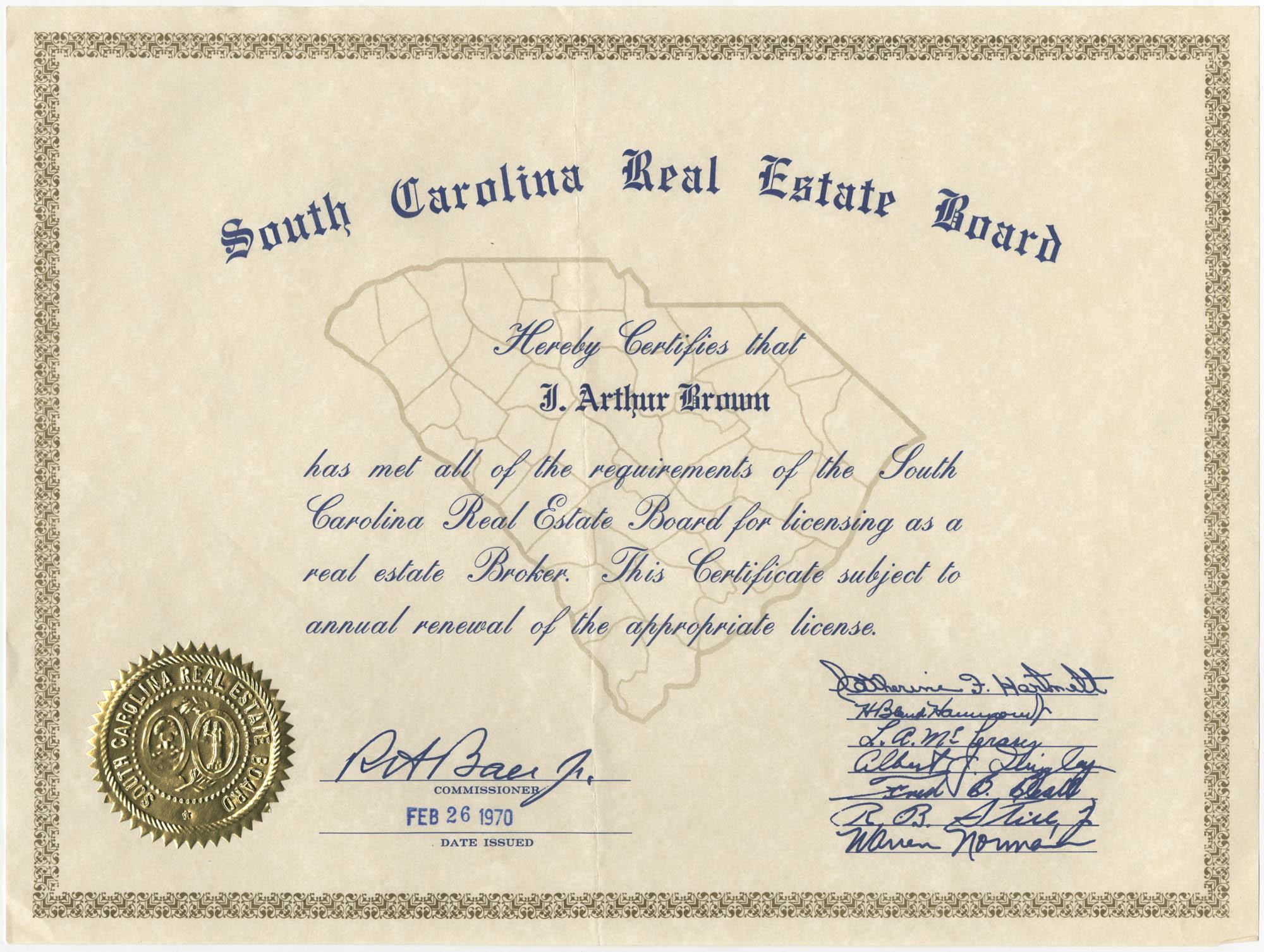 South Carolina Real Estate Board Certificate for J. Arthur Brown, February 26, 1970