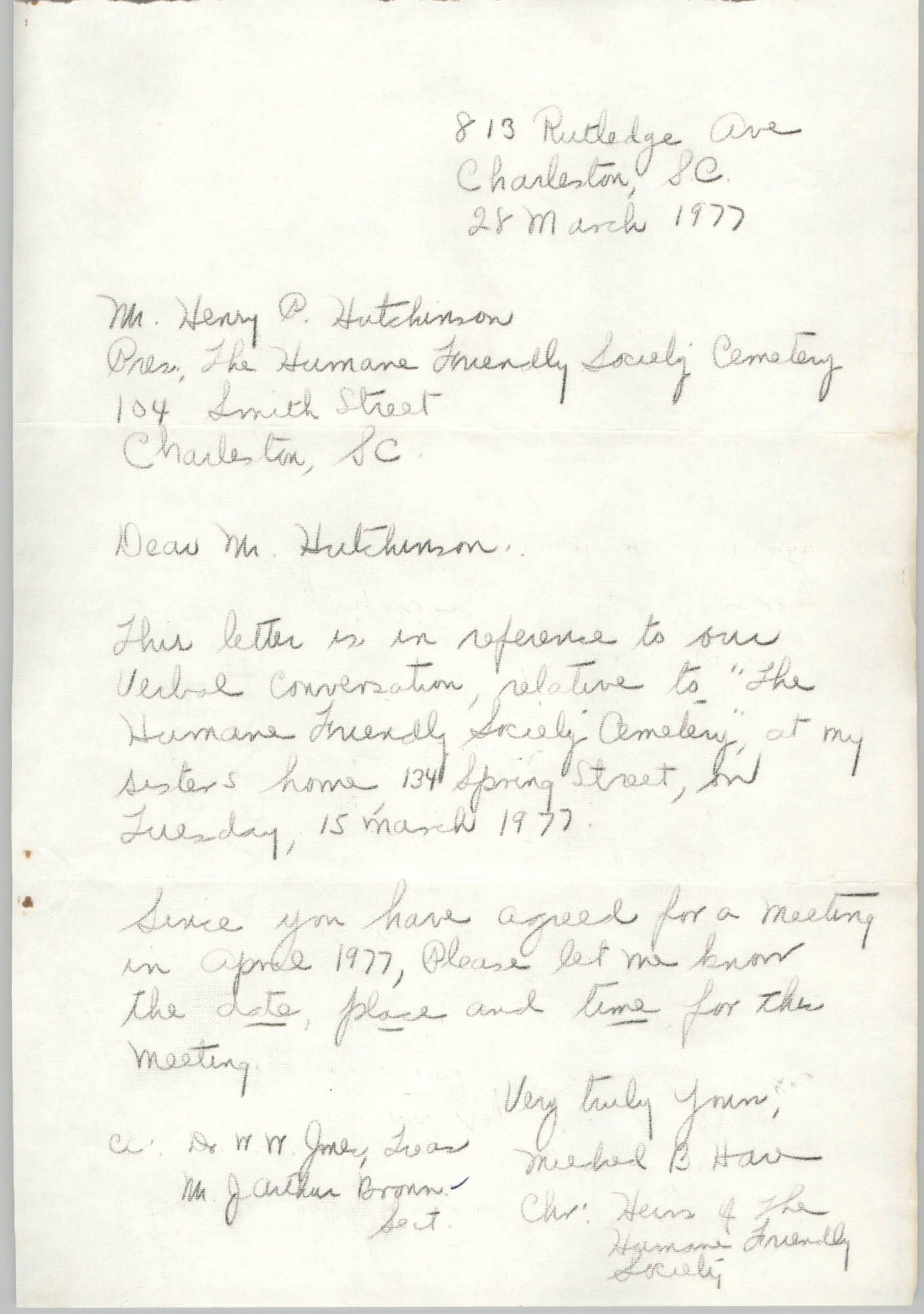 Letter to Henry P. Hutchinson, March 28, 1977