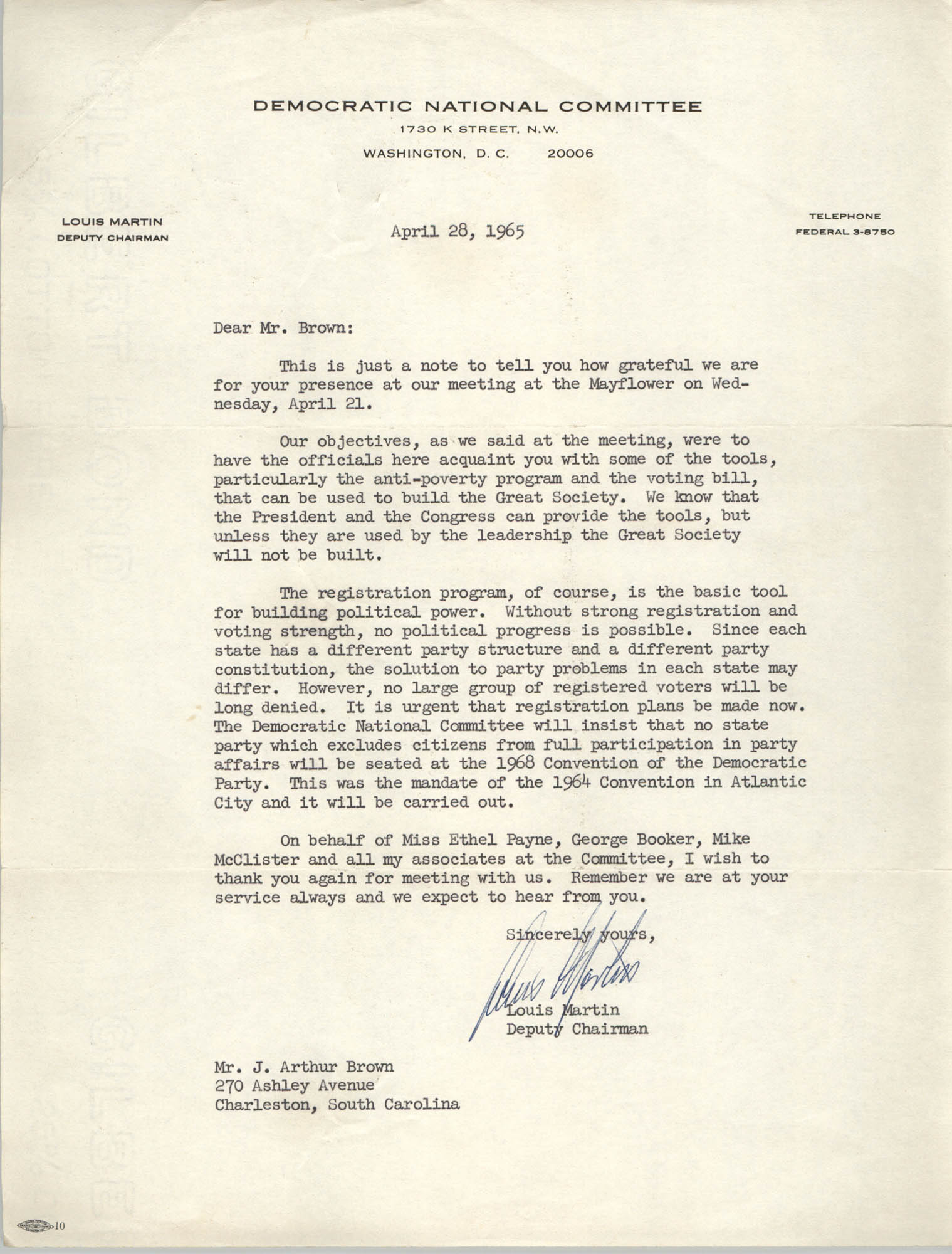 Letter from Louis Martin to J. Arthur Brown, April 28, 1965