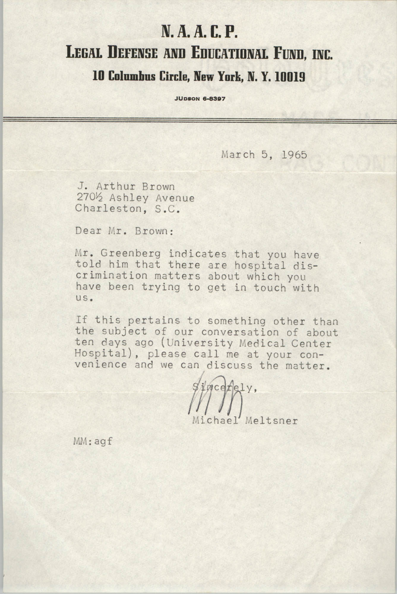 Letter from Michael Meltsner to J. Arthur Brown, March 5, 1965