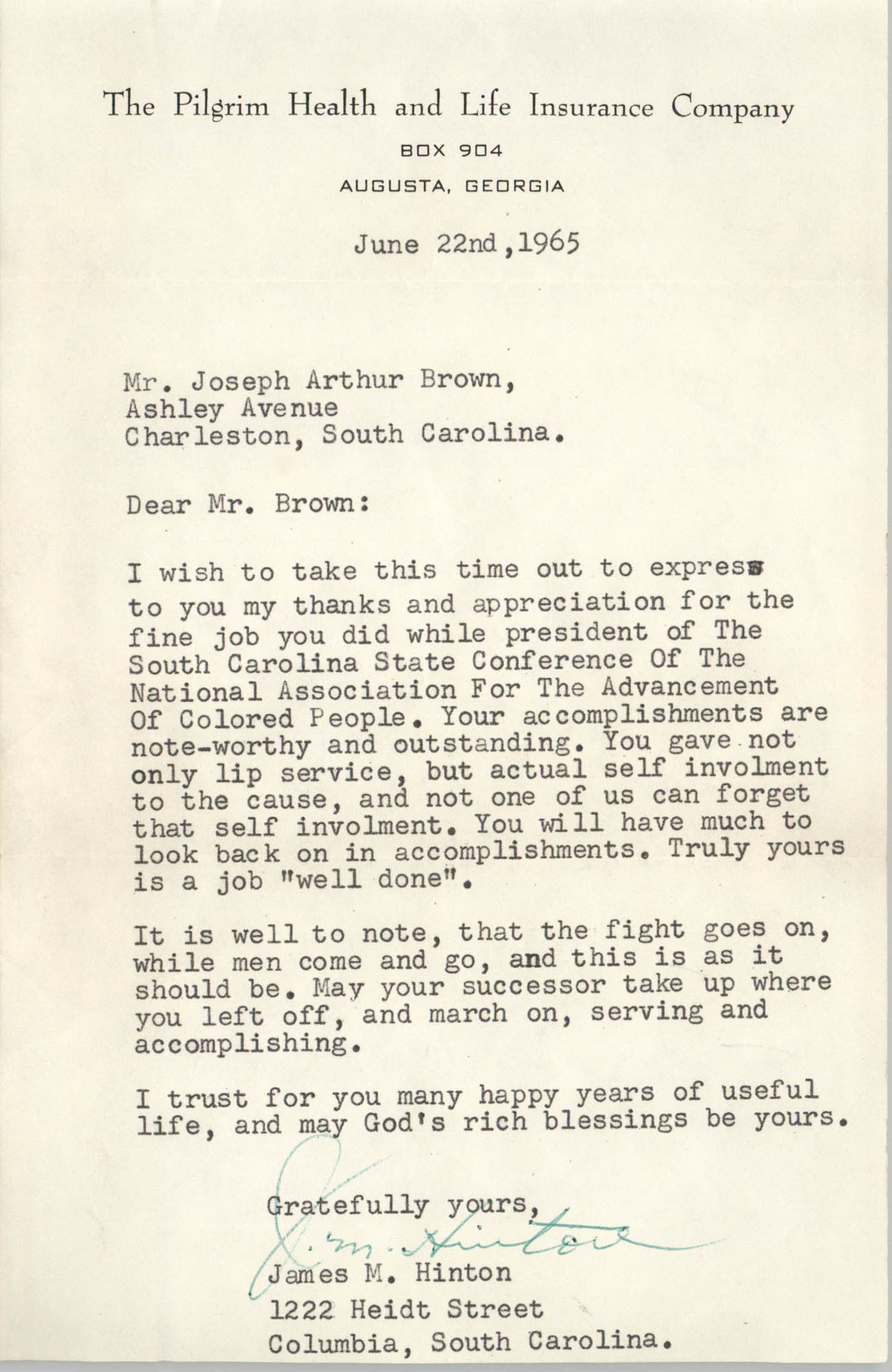Letter from James M. Hinton to J. Arthur Brown, June 22, 1965