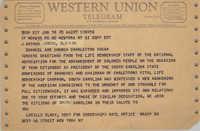 Telegram from Lucille Black to J. Arthur Brown, June 18, 1965