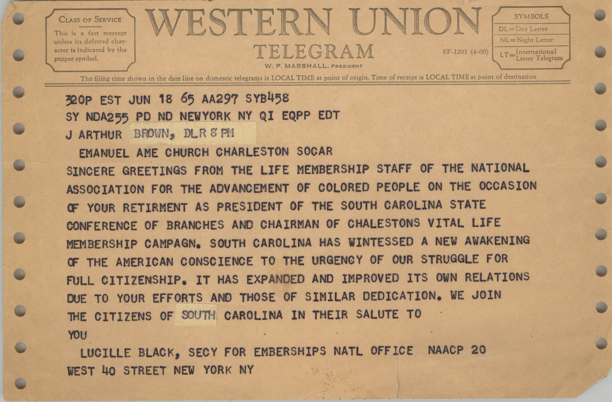 Telegram from Lucille Black to J. Arthur Brown, June 18, 1965