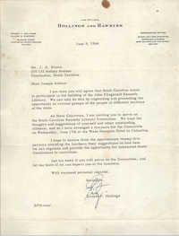 Letter from Ernest F. Hollings to J. Arthur Brown, June 9, 1964