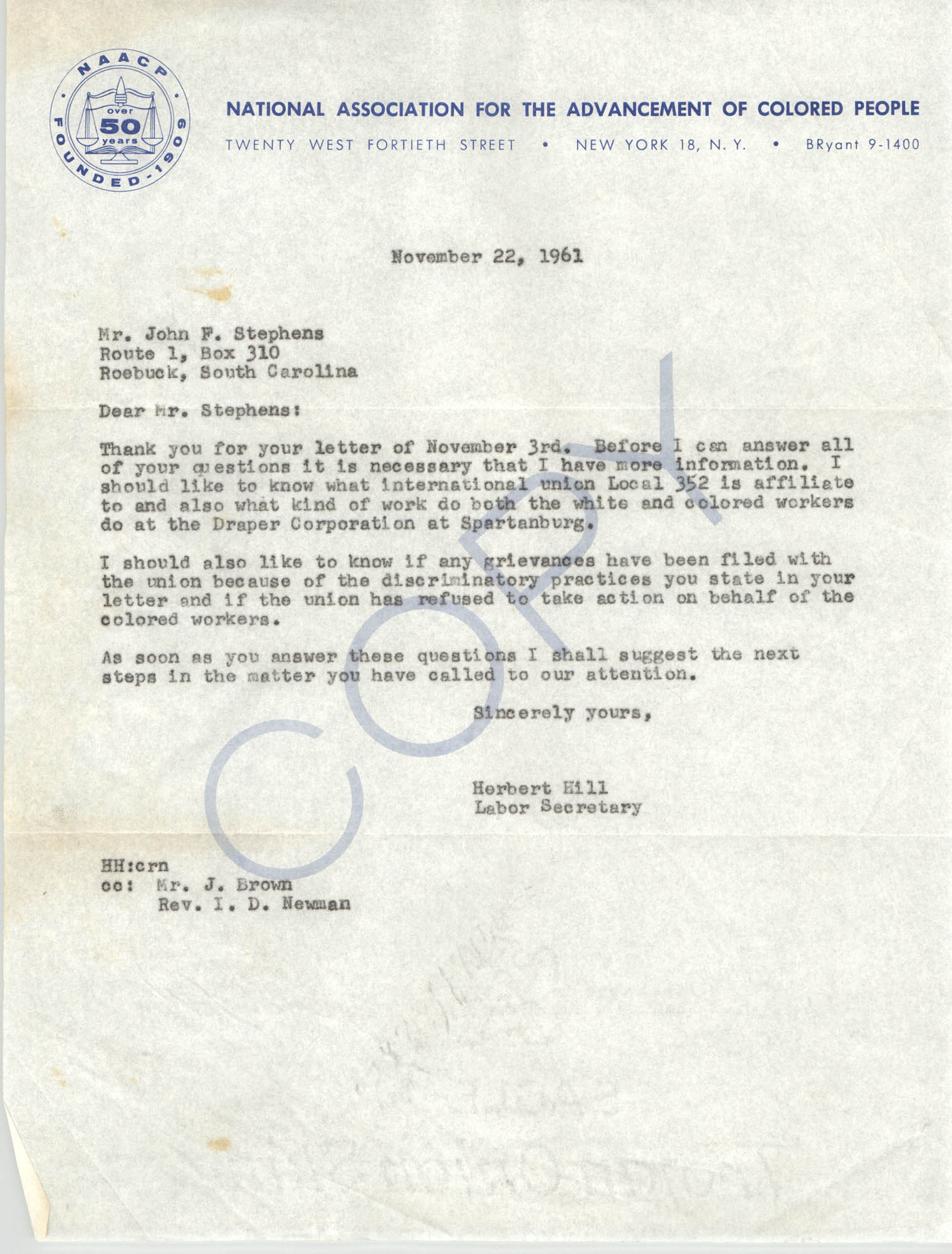 Letter from Herbert Hill to John F. Stephens, November 22, 1961