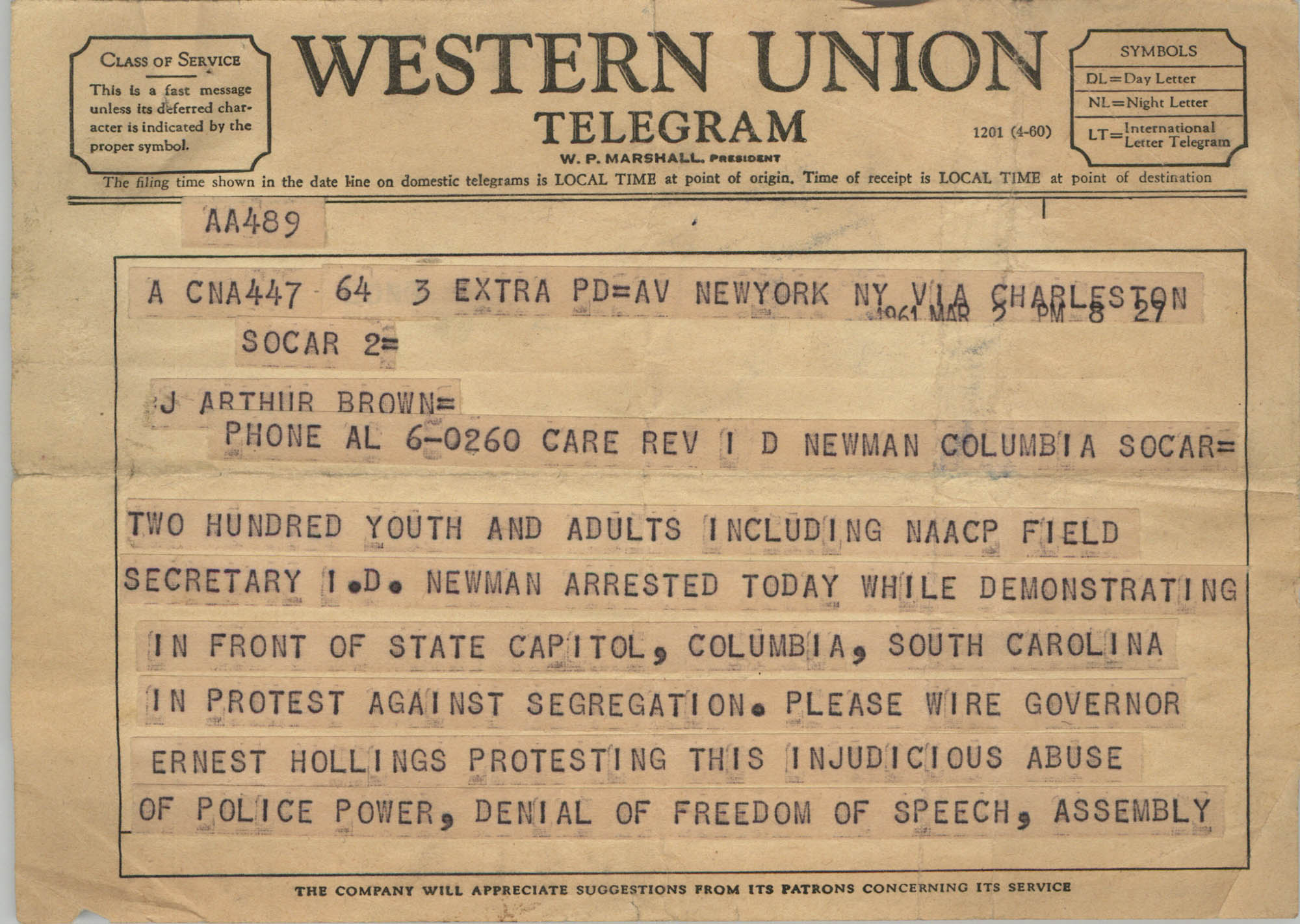 Telegram to J. Arthur Brown, March 2, 1961